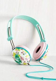 Swoons and Tunes Headphones in Teal Roses. Never will you feel so fab while jammin out as you do when sporting these pastel headphones! #multi #modcloth