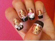 leopard French 3-D bejeweled