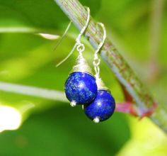 Silver Plated Wire Wrapped Lapis Lazuli Earrings With 10 mm Beads door EASTERNSOULS op Etsy