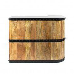 Bar tonneau industriel bois et cerclage métal - Made In Meubles Furniture, Outdoor Decor, Home, Zinc, Outdoor Furniture, Bar, Outdoor Storage Box, Storage, Metal