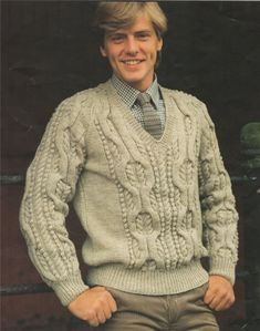 PDF Mans Aran Cable Sweater Knitting Pattern : Mans 34, 36, 38, 40, 42, 44 and 46 inch chest . 91, 97, 102, 107, 112, 117 and 122 cm chest by PDFKnittingCrochet on Etsy
