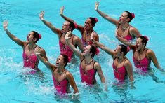 Team France compete in the Team Technical Routine - Final during the FINA Olympic Games Synchronised Swimming Qualification Tournament test event ahead of the Rio 2016 Olympic Games