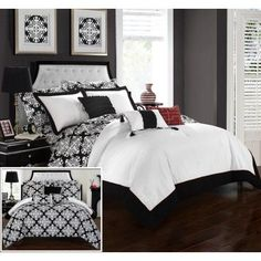 Chic Home 8 Piece Lalita Black and White Reversible Medallion printed Plush Hotel Collection Twin Bed In a Bag Comforter Set Black With sheet set