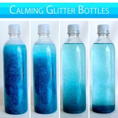 Mix water, glitter, and glitter glue in an empty water bottle to provide a fun way to allow children to #calmdown when they're on the verge of a #meltdown. Shake up the bottle and when the #glitter has settled, they can rejoin the activity.