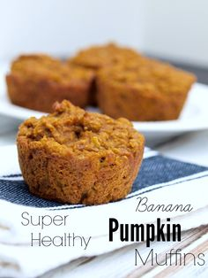 Healthy and hearty Banana Pumpkin Muffins.  These is a great healthy and portable breakfast recipe.