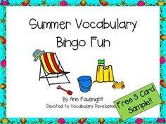 Practice reading some summer vocabulary while having fun playing bingo!Try this 5 card sample! Find the complete game atSummer Vocabulary Bingo FunA total of 25 different cards in both color and BW are included in this game making it useful for summer day camps or other summertime groups.