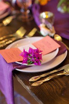 Purple wedding table setting -- Anna Kim Photography