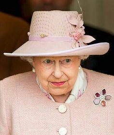 HM Queen Elizabeth II in a beautiful rose ensemble.  #EnglishRose