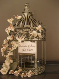 Gold Bird Cage Wedding Card Holder Vintage by SoClassicallyChic, $60.00