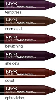 Vamp up your look instantly with NYX Professional Makeup smooth and smoldering Simply Vamp Lip Cream. Wear any of these six bewitching shades to brew up a little beauty magic. Apply to clean, moisturized lips. Fall Makeup, Love Makeup, Makeup Tips, Makeup Looks, All Things Beauty, Beauty Make Up, Make Up Studio, Batons Matte, Style Outfits