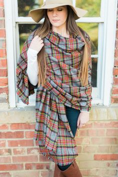 Oversized Flannel Blanket Scarf Infinity by astylishdesign on Etsy
