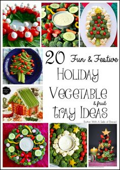 20 Fun & Festive Holiday Vegetable {and fruit!} Tray Ideas ~~ LOVE these! Perfect for parties! #vegetables #healthy #holidayparty