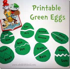 Green eggs and ham rhyming. Actually, I've been using the wonderful rhyming Flannel Board from http://melissa.depperfamily.net/blog/?p=1659 regularly at storytimes. A variation on this, with pictures, would be a great take-home tie-in.