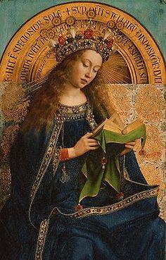 L'Adoration de l'Agneau mystique, 1432          Van Eyck.                                                       La Vierge Marie.