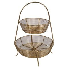 2-Tier Gold Plated Wire Basket - Threshold™ : Target