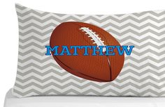 Football Pillow Case Chevron Pattern Pillow by Kids Pillows, Animal Pillows, Kids Bedroom, Bedroom Decor, Personalized Pillow Cases, Animals For Kids, Chevron, Pillow Covers, Football