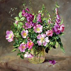 ''Foxgloves and Wild Roses'' by Anne Cotterill