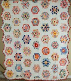 AMAZING Vintage 30's Flower Garden Antique Quilt ~NICE BORDER & SMALL PIECES!