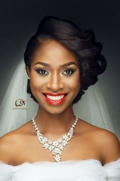 African Wedding Hairstyles 2017 - Hairstyles for women - Bridal Hairstyles African American, African Wedding Hairstyles, Natural Wedding Hairstyles, Bride Hairstyles, Black Hairstyles, Black Bridesmaids Hairstyles, Hairstyle Ideas, Bridal Hair And Makeup, Wedding Hair And Makeup