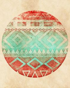 Coral Turquoise Bohemian Glam Aztec Style Art  Giclee by bohoLUSH, $49.00
