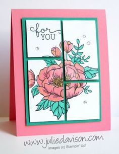 """Stampin' Up! Birthday Blooms Cut Up Card with measurements #stampinup www.juliedavison.com 4 ¼"""" x 11"""" Flirty Flamingo cardstock 3 ¼"""" x 4 ½"""" Emerald Envy cardstock 2 ¾"""" x 4"""" Whisper White cardstock After stamping, cut the Whisper White cardstock down the middle at 2"""". Turn the pieces in opposite directions and cut at 2 ¾"""" from one end."""