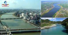 No Japão, há grandes rios que fluem por grandes cidades, como o Tone, na Planície de Kanto, que abastece água a mais de 30 milhões de habitantes em Tóquio.