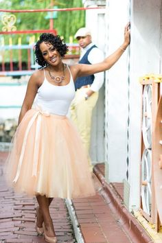 Women's tulle skirt in peach and cream. Peach by TutusChicBoutique, $200.00