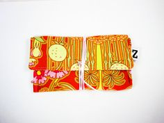 Floral tobacco pouch orange yellow print fabric by Zarkadia