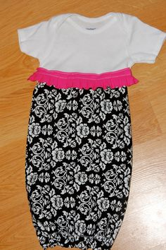 Black and White Damask with Pink Infant Layette Gown