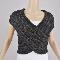 Hand knit vest Cross Sweater Capelet Neck warmer in by MaxMelody, $58.00 - think you could make this Jess?