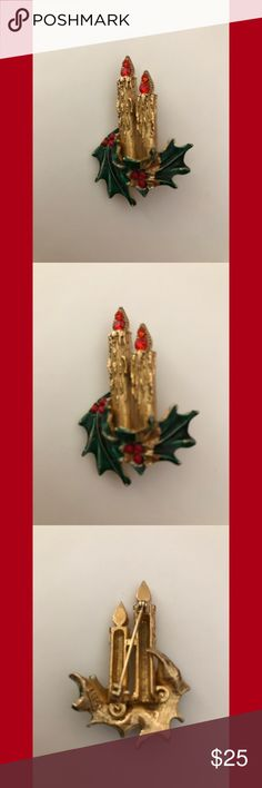 """Vtg signed ART Christmas candles brooch Gold tone brooch with red rhinestone flames, green enamel holly and red lucite berries. Measures 2"""" L x 1 1/4"""" W. In good vintage condition. Vintage Jewelry Brooches"""