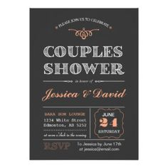 20 Chalkboard Couple's Wedding Shower Invitations