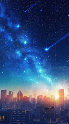 My Favorite Wallpaper: Sunset in the starry sky Anime Backgrounds Wallpapers, Anime Scenery Wallpaper, Pretty Wallpapers, Wallpapers Ipad, Night Sky Wallpaper, Galaxy Wallpaper, Fantasy Art Landscapes, Fantasy Landscape, Anime Night