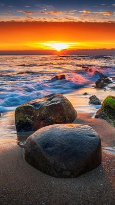 Coast, rocks, sunset, sea, sea waves, 720x1280 wallpaper