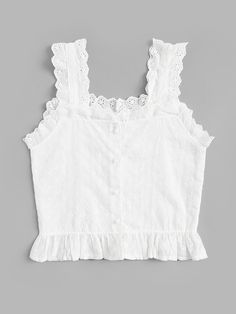 To find out about the Embroidered Ruffle Hem Button Front Cami Top at SHEIN, part of our latest Tank Tops & Camis ready to shop online today! Kids Blouse Designs, Dress Neck Designs, Girl Outfits, Cute Outfits, Fashion Outfits, Dressy Casual Outfits, Plus Size Women's Tops, Baby Girl Dress Patterns, Cami Tops