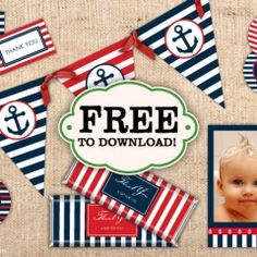 FREE Nautical Party Printables by Ian and Lola Designs ishareprintables.com #nautical