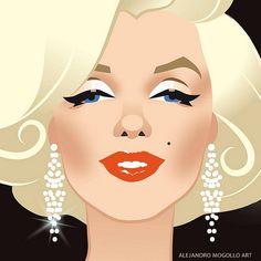 A closer look Arte Marilyn Monroe, Marilyn Monroe Drawing, Marilyn Monroe Artwork, Celebrity Caricatures, Celebrity Drawings, La Reproduction, Rare Images, Norma Jeane, Up Girl
