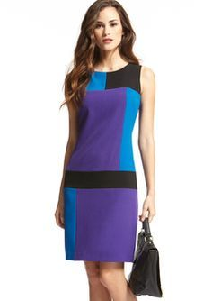 Color block Fall dress - Always a hit! Modest Dresses, Simple Dresses, Cute Dresses, Short Dresses, Dresses For Work, Mod Fashion, Fashion Sewing, Color Blocking Outfits, Karen
