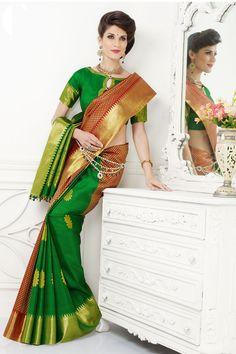 Green colour pure Kanjivaram zari silk Saree with golden border online shopping in Waukesha, West Allis, Kansas City, Fayetteville