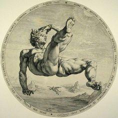 Hendrik Goltzius la chute de Phaéton 1988 _____ Le grand maître de la gravure des provinces unies (Harlem). On est ici dans un style maniériste tardif. Ce style est caractérisé par une démonstration (souvent très ostentatoire) du savoir faire de l'artiste : ici les muscles et le mouvement de la chute. C'est presque une sculpture sur papier. Une exécution très proche de Michel Ange maître admiré par Goltzius de Harlem _____