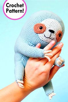 Ever since I've held a young one in my arms I have fallen in love with sloths. Crochet Sloth, Crochet Animals, Crochet Toys, Knit Crochet, Yarn Crafts, Diy Crafts, Sloth Stuff, Knitting Patterns, Crochet Patterns