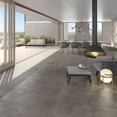 Wall tiles range Douai in size, is a white body tile with concretes like finish. White Bodies, Porcelain Tile, Wall Tiles, Concrete, Dining Table, Patio, Outdoor Decor, Lens, Collections