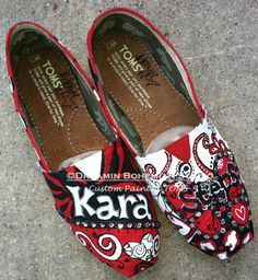 ed1209edc82 Black Red and White Bandana and Animal Print Design Painted TOMS with  Crystals Shoes included school