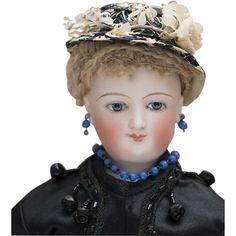 14 1/2 (37 cm) Very Beautiful Antique French Fashion Mona Lisa Smiling Bru, Original Body, Mohair Wig, Cork Pate, wonderful original silk dress!