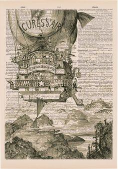 Vintage Steampunk Zeppelin House On Victorian Era by EraPrints