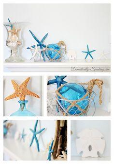 Beachy Blue Summer Mantel - lots of blue starfish, shells, sand dollars and a DIY driftwood mirror