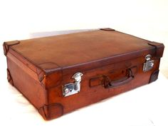 Edwardian c 1901-1910 Monogrammed Leather Suitcase - Made In England