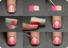 I definitely want to try this!  All you need:  wax paper  sponge  toothpick  two nail polish colors + clear top coat  Q tips and nail polish remover to clean up around nails after