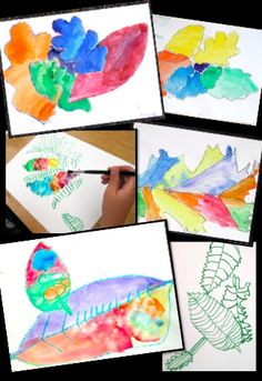 Art Lessons with Autumn Leaves - science connected art lessons focusing on observation, line, shape, color, and detail.