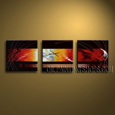 Colorful Modern Abstract Painting Hand Painted Oil Painting Stretched Ready To Hang Abstract. This 3 panels canvas wall art is hand painted by Bo Yi Art Studio, instock - $138. To see more, visit OilPaintingShops.com